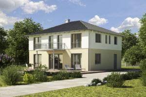 Einfamilienhaus weiss-creme Putz